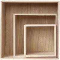 Aufbewahrungskästen, Quadrat, H: 15x15+21,5x21,5+28x28 cm, Tiefe 12,5 cm, 3 Stk/ 1 Set