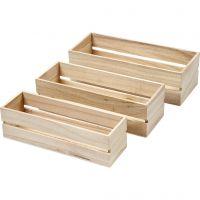 Holz Boxen, H: 6,5+7+7,5 cm, L: 22+23,5+25 cm, B: 7+8,5+10 cm, 3 Stk/ 1 Set