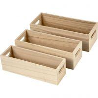 Holzkasten, H: 6,5-7,5 cm, L: 22+23,5+25 cm, B: 6,5+7,5+8,5 cm, 3 Stk/ 1 Set