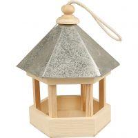 Vogelfutterhaus mit Zinkdach, Größe 22x18x16,5 cm, 1 Stk
