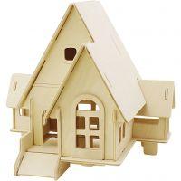 3D-Figuren zum Zusammensetzen, Haus mit Garage und Auffahrt, Größe 22,5x17,5x20,5 , 1 Stk