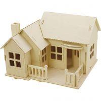 3D-Figuren zum Zusammensetzen, Haus mit Terrasse, Größe 19x17,5x15 , 1 Stk