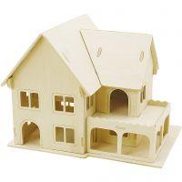 3D-Figuren zum Zusammensetzen, Haus mit Veranda, Größe 22,5x16x17,5 , 1 Stk