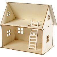 Puppenhaus zum Zusammenbauen, H: 25 cm, Größe 18x27 cm, 1 Stk
