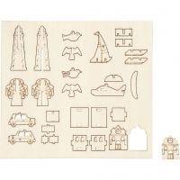 Zusammensteckbare Holzfiguren, Alltagsgegenstände, L: 15,5 cm, B: 17 cm, 1 Pck