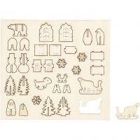 Zusammensteckbare Holzfiguren, Weihnachten, L: 15,5 cm, B: 17 cm, 1 Pck