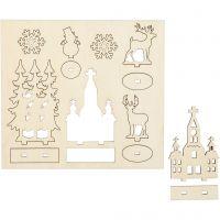 Zusammensteckbare Holzfiguren, Kirche, Weihnachtsbäume, Hirsche, L: 15,5 cm, B: 17 cm, 1 Pck
