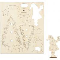 Zusammensteckbare Holzfiguren, Weihnachtsmann, Weihnachtsbäume, Hirsch, L: 20 cm, B: 17 cm, 1 Pck