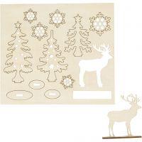 Zusammensteckbare Holzfiguren, Wald mit Hirschen, L: 15,5 cm, B: 17 cm, 1 Pck