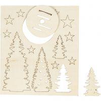 Zusammensteckbare Holzfiguren, Weihnachtsbäume, L: 20 cm, B: 17 cm, 1 Pck