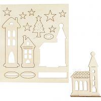 Zusammensteckbare Holzfiguren, Weihnachtliche Stadt, L: 20 cm, B: 17 cm, 1 Pck