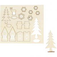 Zusammensteckbare Holzfiguren, Haus, Baum, Hirsch, L: 15,5 cm, B: 17 cm, 1 Pck