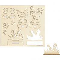 Zusammensteckbare Holzfiguren, Hühner und Blumen, L: 15,5 cm, B: 17 cm, 1 Pck