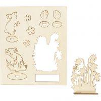 Zusammensteckbare Holzfiguren, Hasen und Blumen, L: 20 cm, B: 17 cm, 1 Pck
