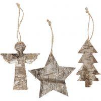 Weihnachtliche Holzfiguren, H: 10 cm, B: 8 cm, 3 Stk/ 1 Pck