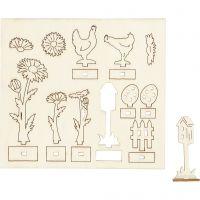 Zusammensteckbare Holzfiguren, L: 15,5 cm, B: 17 cm, 1 Pck