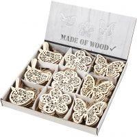 Holz-Anhänger, Schmetterling, Blume, Vogel, H: 10 cm, 90 Stk/ 1 Pck