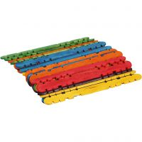Holzbaustäbe mit Kerben, L: 11,4 cm, B: 10 mm, Sortierte Farben, 30 Stk/ 1 Pck