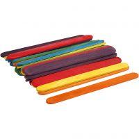 Farbige Holz-Eisstiele zum Basteln & Bauen, L: 11,4 cm, B: 10 mm, Sortierte Farben, 30 Stk/ 1 Pck