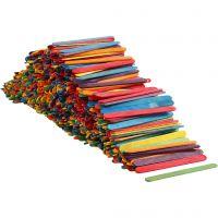 Farbige Holz-Eisstiele zum Basteln & Bauen, L: 11,4 cm, B: 10 mm, Sortierte Farben, 1000 Stk/ 1 Pck