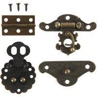 Mini-Beschläge, Größe 30-35 mm, Antikgold, 10 Set/ 1 Pck