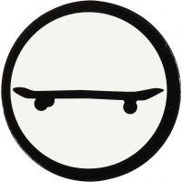 Stanzfigur aus Pappe, Skateboard, D: 25 mm, Weiß/Schwarz, 20 Stk/ 1 Pck