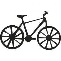 Stanzfigur aus Karton, Fahrrad, Größe 77x48 mm, Schwarz, 10 Stk/ 1 Pck