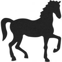 Stanzfigur aus Karton, Pferd, Größe 60x64 mm, Schwarz, 10 Stk/ 1 Pck