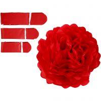 Seidenpapier-Pompons, D: 20+24+30 cm, 16 g, Rot, 3 Stk/ 1 Pck