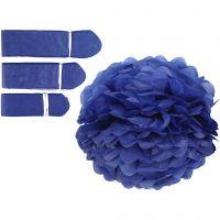 Seidenpapier-Pompons, D: 20+24+30 cm, 16 g, Dunkelblau, 3 Stk/ 1 Pck