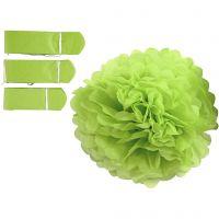 Seidenpapier-Pompons, D: 20+24+30 cm, 16 g, Lindgrün, 3 Stk/ 1 Pck