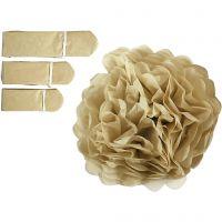 Seidenpapier-Pompons, D: 20+24+30 cm, 16 g, Gold, 3 Stk/ 1 Pck