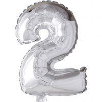 Folienballon - 9, 2, H: 41 cm, Silber, 1 Stk