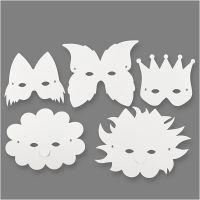 Masken, H: 15-20 cm, 230 g, Weiß, 5 Stk/ 1 Pck