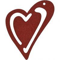 Asymmetrisches Herz, Größe 55x45 mm, Dicke 2 mm, Weinrot, 10 Stk/ 1 Pck
