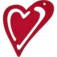 Asymmetrisches Herz, Größe 55x45 mm, Dicke 2 mm, Dunkelpink, 10 Stk/ 1 Pck