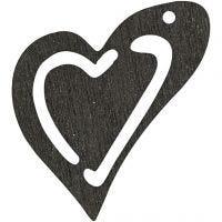 Asymmetrisches Herz, Größe 25x22 mm, Schwarz, 20 Stk/ 1 Pck