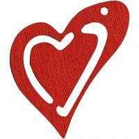 Asymmetrisches Herz, Größe 25x22 mm, Dicke 1,7 mm, Rot, 20 Stk/ 1 Pck