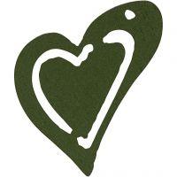 Asymmetrisches Herz, Größe 25x22 mm, Dicke 1,7 mm, Dunkelgrün, 20 Stk/ 1 Pck