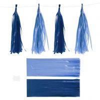 Papier-Quasten, Größe 12x35 cm, 14 g, Dunkelblau/Hellblau, 12 Stk/ 1 Pck