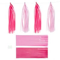 Papier-Quasten, Größe 12x35 cm, Pink, Rosa, 12 Stk/ 1 Pck