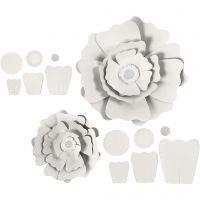 Papierblumen, D: 15+25 cm, 230 g, Weiß, 2 Stk/ 1 Pck