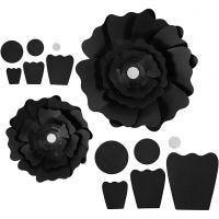 Papierblumen, D: 15+25 cm, 230 g, Schwarz, 2 Stk/ 1 Pck