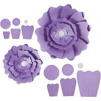 Papierblumen, D: 15+25 cm, 230 g, Flieder, 2 Stk/ 1 Pck