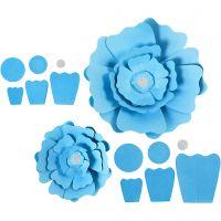 Papierblumen, D: 15+25 cm, 230 g, Hellblau, 2 Stk/ 1 Pck