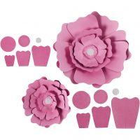 Papierblumen, D: 15+25 cm, 230 g, Rosa, 2 Stk/ 1 Pck