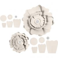 Papierblumen, D: 15+25 cm, 230 g, Naturweiß, 2 Stk/ 1 Pck