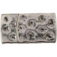 Magnetschloss, Größe 7x29 mm, Lochgröße 3x10 mm, Antiksilber, 1 Stk