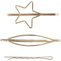 Haarspange, L: 70 mm, B: 32 mm, Vergoldet, 3 Stk/ 1 Pck