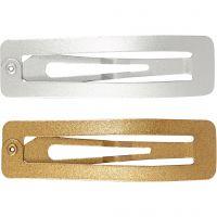Haarspange, L: 58 mm, B: 16 mm, Gold, Silber, 4 Stk/ 1 Pck